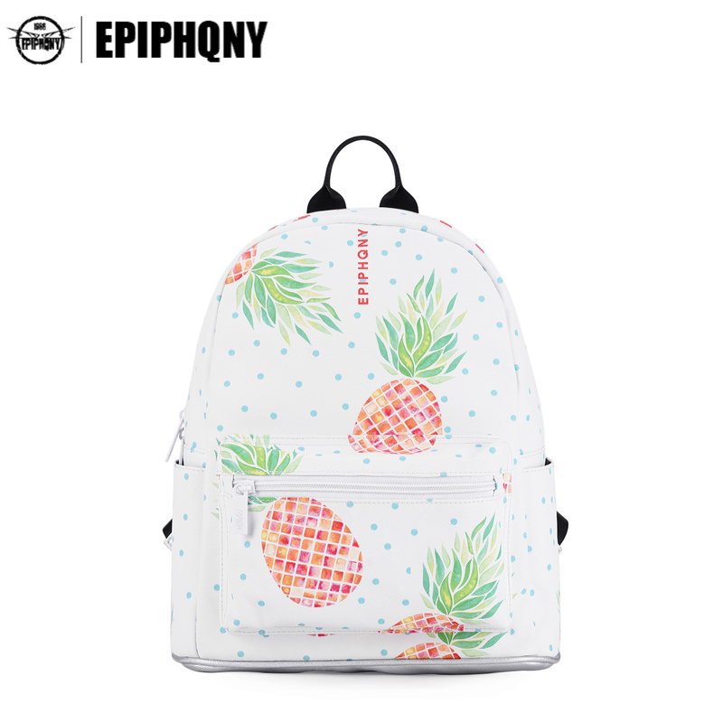 Epiphqny Brand Girl Pineapple Backpack Cute Fruit Printing Shoulder Bag for School Yellow Sweet Activate Daypack Women Fresh<br>