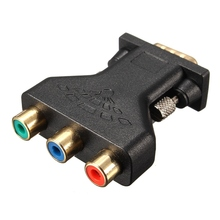 3 RCA RGB Video Female To HD15-Pin VGA Component Video Jack Adapter Connecter Adapter Copper and Gold Plated