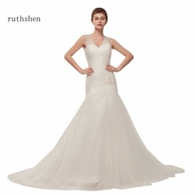 Wedding-Dresses Beaded Sequins White/ivory V-Neck Ruthshen No with And Available Cheap