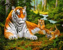 Frameless Painting By Numbers Animals Tiger DIY Oil Painting On Cnvvas Home Decor For Living Room g 40x50m Wall Art(China)