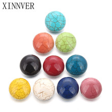 10pcs/lot 18mm Snaps Jewelry Cameo Multicolor 10 Colors Mixed Stone Snap Buttons For Female Leather Bracelet Women's Charm Beads(China)