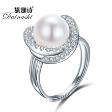 Dainashi Fine Cross Round Rings For Women 925 Sterling Silver Jewelry Natural White Pearl Jewelry Adjustable Rings 2016 Jewelry(China)