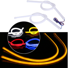 2pc DIY 60cm Flexible LED Tube Angel Eye DRL Daytime Running Light For Audi-Style Dual Color White Amber Blue Red Strip FISHBERG(China)