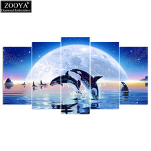 ZOOYA 5d diy diamond embroidery moonlight dolphin 5PCS diamond painting Cross Stitch full drill Rhinestone Multi-picture