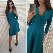 New 2018 Elegant Deep V-Neck Autumn Dress Women Solid Long Sleeve Slim  Ladies A-Line Shirt Dresses Party Female Winter Vestidos 61df0845e98a
