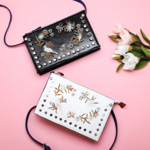 Embroidery flowers bird rivets fashion women's day clutches envelope bag shoulder bag handbag ladies crossbody messenger bag