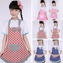 Kids Girls Cute Polka Dots Princess Aprons Boys Children Pink Blue Orange Apron Baking Party Kitchen Cooking Household Cleaning(China)