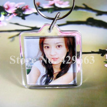 Free shipping 35pcs/lot Square shaped Transparent Blank Insert Photo Picture Frame Key Ring Split keychain