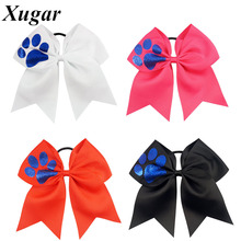 7'' Large Blue Glitter Dog Claws Printed Cheer Bow Grosgrain Ribbon Cheerleading Bow Ponytail Holder For Girl