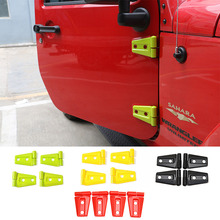 For Jeep Wrangler 2007 up Door Hood Hinge Red Decorative Cover Sticker 4PCS/2 Doors Exterior Replacement Parts Accessories