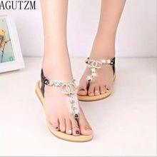 680b4e095 AGUTZM 2018 novo estilo de sandálias de fundo plano Diamante das mulheres  chinelos sapatos femininos sapatos