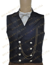 Free Shipping  Halloween Costume Black Jacquard Double Breasted Victorian Steampunk Waistcoat