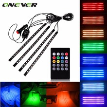 Car RGB LED Strip Light Music Control LED Strip lights 8 Colors Car Styling Atmosphere Lamps Car Light With Remote(China)