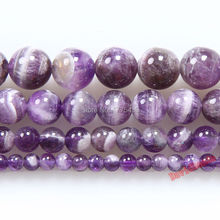 Factory price Round Mixed Purple Color Amethysts Beads Natural Stone Beads 6 8 10 12mm diy Bracelet Necklace For Jewelry Making(China)