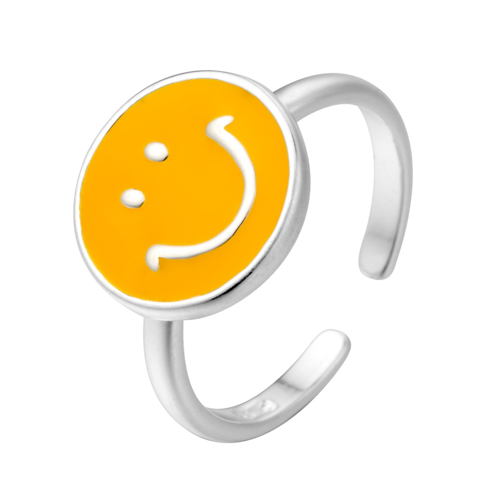Silver Yellow Enameled Smiley Adjustable Cute Ring