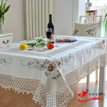 Kingart Hand White Cotton Handmade Crochet Tablecloth Rectangle Embroidery tablecloth Set Hollow Out Hook Flower Table Cover(China)