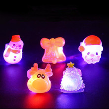 Cute Cartoon Christmas LED Light Up Finger Ring Flashing Glowing Rings Kids Gift Christmas Glow Party Supplies(China)