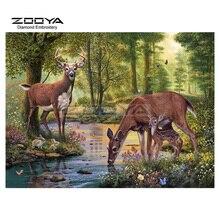 Zooya diamond Вышивка 5D DIY Алмаз пейзажной живописи Лесной Олень Вышивка с кристаллами Rhinestone Мозаика bj1575(China)