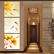 Giveaways wall sticker Framed Canvas Art Koi Fish Lotus Goldand Chinese Oil Painting Feng Shui Wall Pictures for Living RoomF330