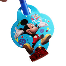 6Pcs/set Funny Colorful Whistles Kids Childrens Birthday Party Blowing Dragon Blowout Baby Birthday Supplies Toys blue mickey