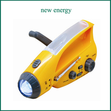 [Seven Neon]Fashion Patent Crank Dynamo Solar Flashlight/alarm/Mobilephone Charger/AM FM radio/bright camping light tourch