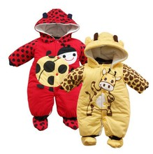 New Cartoon Cow Ladybug Cotton-padded Baby Infant Romper Warm Newborn Clothes Jumpsuit Autumn Winter Outwear Roupas Meninas