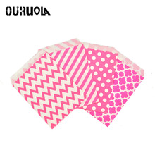 25pcs Rose Paper Bag Chevron Dot Flat Wedding Party Favor Candy Popcorn Gift Bags Food Safe Packaging Treat Craft Paper Bags