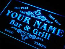 u-tm Name Personalized Custom Family Bar & Grill Beer Home Gift Neon Sign with On/Off Switch 7 Colors 4 Sizes(China)