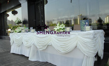 White Color Cheap Price Ice Silk Wedding Table Skirt Include The Swag Drape(China)