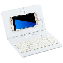 High quality New Wired General Wired Keyboard Flip Holster Case For Andriod Mobile Phone 4.2-6.8'(China)