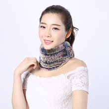 Stylish good quality girl fur scarf trendy floral pattern wrap neck rex Rabbit scarf Warm knit scarf women brand for winter 1228