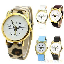 Hot Sales Popular Child Kids  Popular Animal Designed Watch Cat Face Beard Style Faux Leather Analog Quartz Cute Wrist Watch