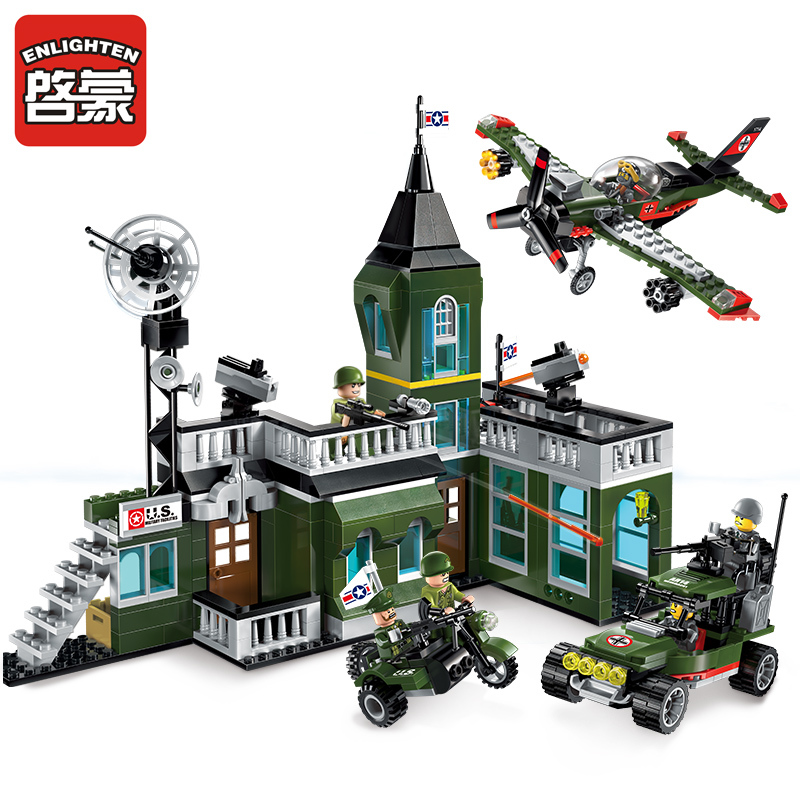 Enlighten Building Block Military Battle Land Force Bombing command headquaters 6 Figures 627pcs Educational Bricks Toy Boy Gift<br>