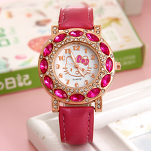 High Quality Leather Watchband Cat Print Watch Children Women Dress Fashion Crystal Quartz Wrist Watch Pink Rose Black Skyblue