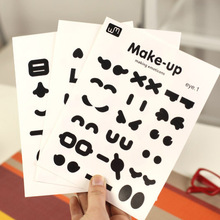 3 Sheets/lot, Cute Black Mustache Nose Eyes Mouse Emoticon Kawaii Cup Stickers Decor Stationery Memo Pad Post It