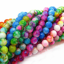 4mm 6mm 8mm 10mm Mix Color Round Shape Chunky Pendant Beads Chic Loose Glass Crackle Beads for Jewelry Charms diy Spacer Beads