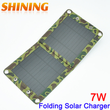 7W Solar Panel USB Charger Battery Power Bank Charger Folding Solar Charging Bag For Moible Phone Camping Travel Backpacks(China)