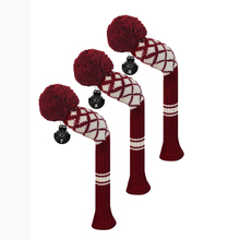 Golf Fairway Woods Club Head Covers, Reticulated Pattern Acrylic Yarn Double-Layers Knitted, with Rotatable Tags