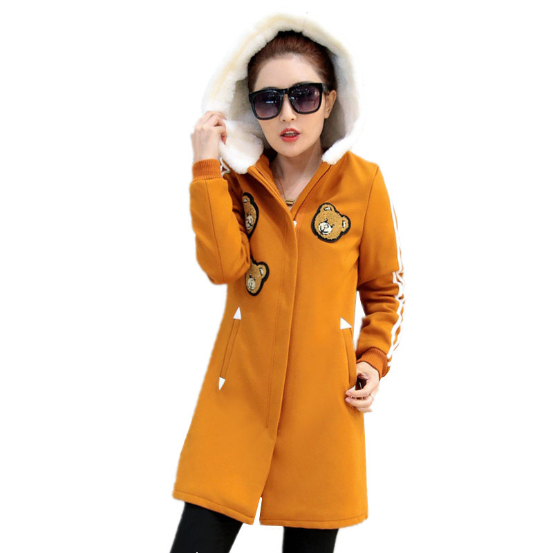 2017 New Winter Women Jacket Korean Medium Long Hooded Cartoon Outwear Female Student Plus Velvet Thick Slim Hoodies CoatОдежда и ак�е��уары<br><br><br>Aliexpress