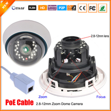 CCTV-TOP Real 48V PoE IP Camera 720P/960P 1.0MP 1.3MP Network Camera IP PoE Varifocal Zoom 2.8mm-12mm Lens ONVIF PoE Cable