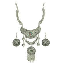 5Sets/Lot earring necklace Abalone Shell brass earring hook antique natural oval chain rhinestone Zinc Alloy Jewelry Sets(China)