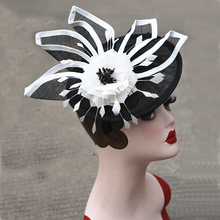 Black Kentucky Derby Fascinator Hat For Women White Flower Sinamay Ladies Hats Wedding Party Cocktail Headwear Female Headbands(China)