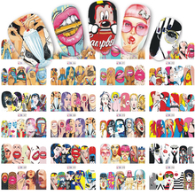 12 Designs/Sets Fashion Nail Art Sexy Cute Designs Watermark Sticker Decals for Nail Decorations Nail Tattoos BN385-396