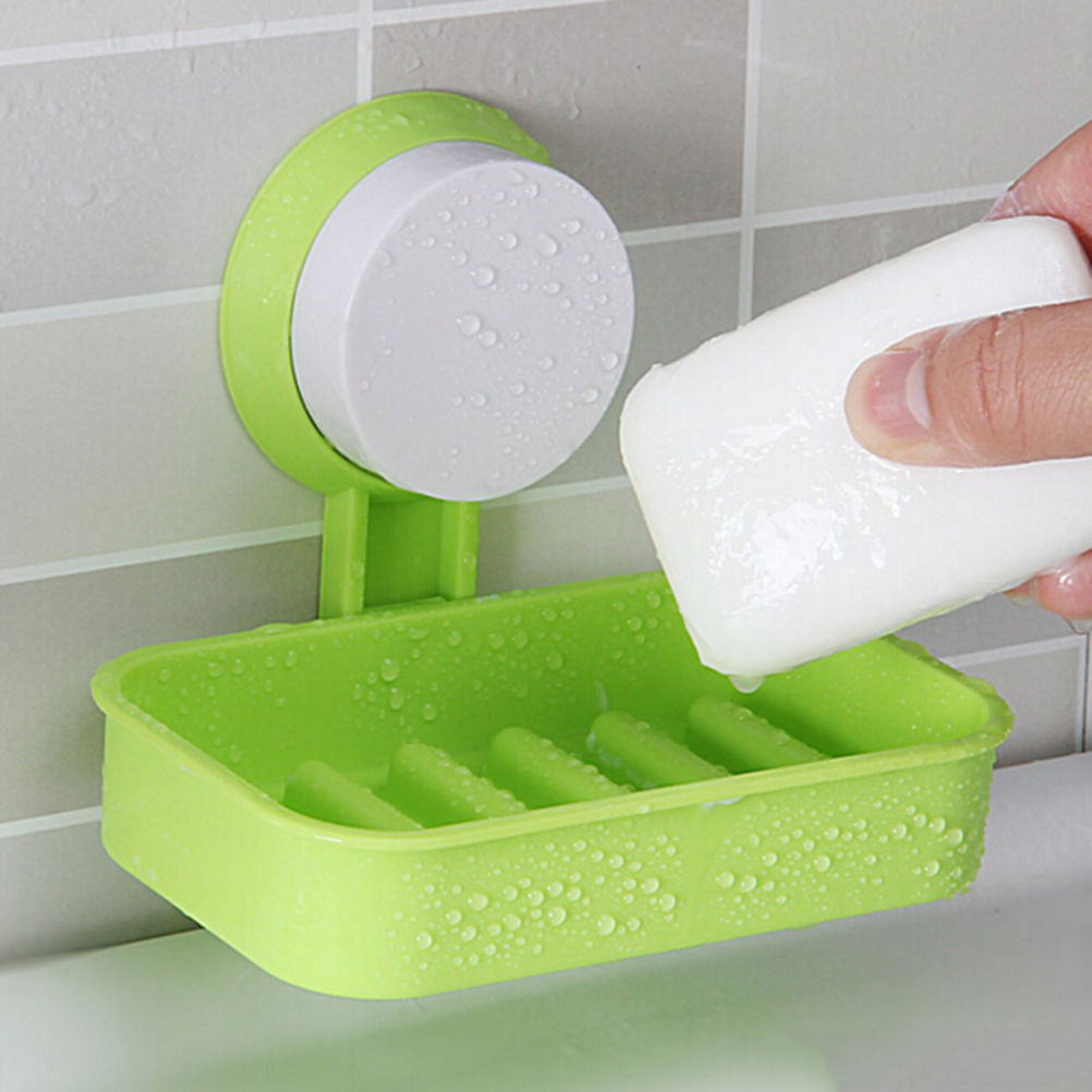 Candy Color Home Hotel Travel Soap Dish tray Wall Holder Storage Box Toilet Suction Cup Holder Bathroom Shower Soap Dish 1PCS
