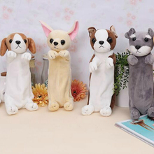 Cartoon Plush Dog puppy Pencil Bag Cute Animal For Kids School Labrador Borde collie golden retriever chihuahua Schnauzer(China)