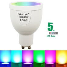 2016 New Arrival 5W GU10 Dimmable 2.4G Wireless Milight Led Bulb RGBW RGBWW Led Spotlight Smart Led Lamp Lighting AC86-265V
