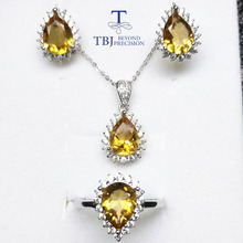 TBJ, 100% natural brazil good color citrine pe6*9mm dianna classic gemstone jewelry set in 925 sterling silver with box(China)