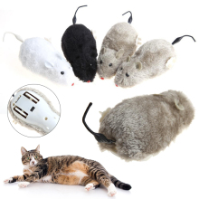New Random Color Electronic Wind Up Move Tail Plush+Plastic Running Furry Rat Mouse Mice Toy Pet Cat Kitten Fun Toy For Pet