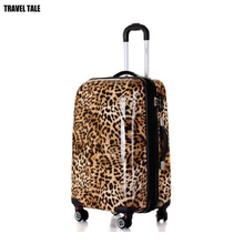 "20""24""28 leopard print travel Suitcase kinder koffers trolleys luggage set for women(China)"