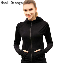 Heal Orange Running Jacket For Women Yoga Zipper Long Sleeve Women Sport Jacket Fitness Ladies Hoodies Sports Women's Clothing(China)
